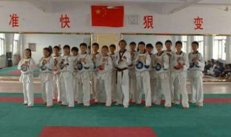 Grandmaster Lee with his class at the Shaolin Temple in China